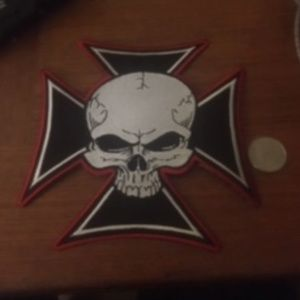 Maltese Cross W/Skull Patch Biker Badge Symbol -13